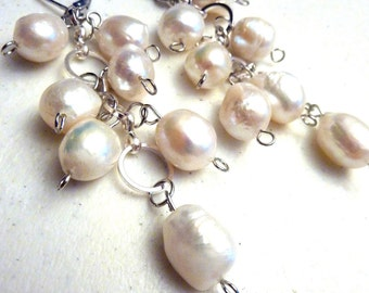 Ivory Antique White Freshwater Pearls Cluster Earrings