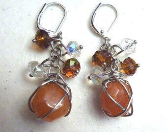 Orange Jade and Crystals Cluster Earrings