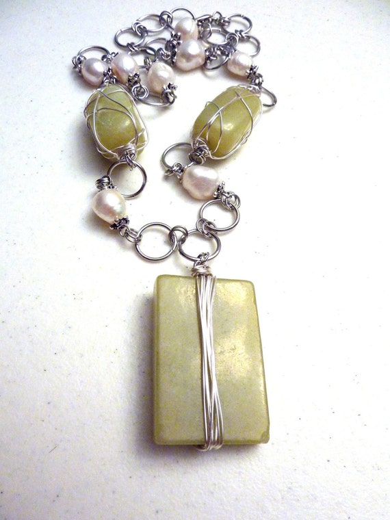 Silver Wire Wrapped Lime Green Butter Jade and Freshwater Pearls Necklace
