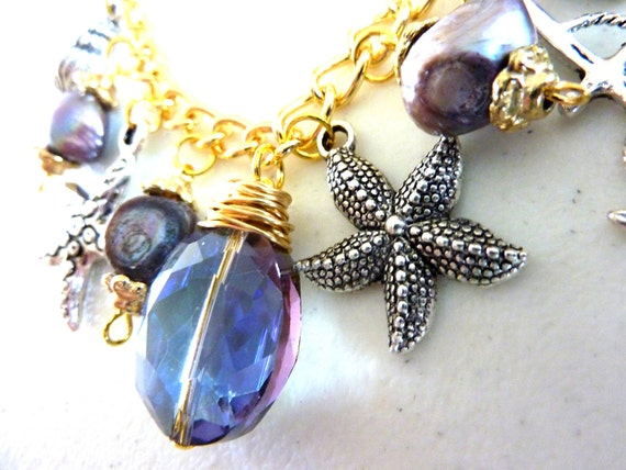 Purple Blue Crystal Nautical Charm Necklace with Freshwater Pearls
