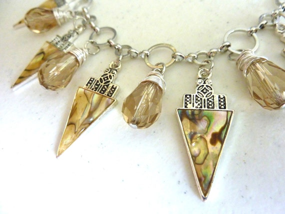 Abalone Triangle Shell and Wire Wrapped Crystal Charm Necklace