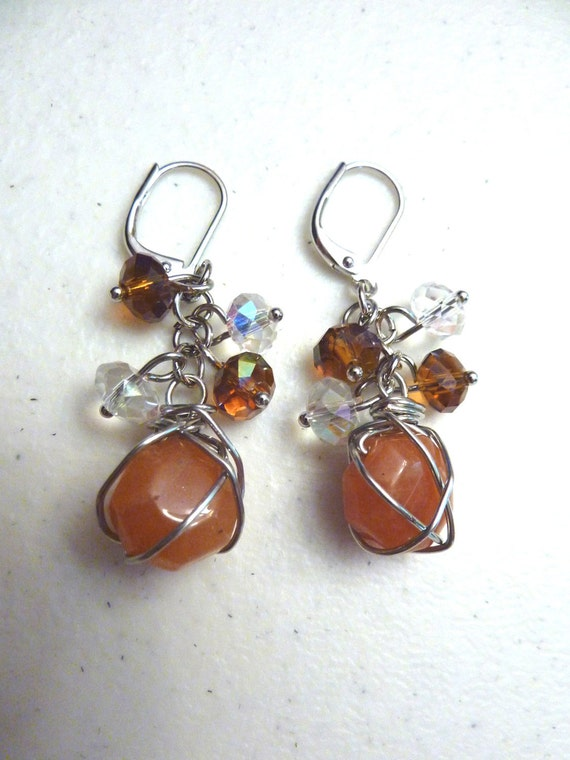 Orange Jade and Crystals Cluster Earrings