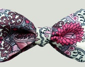 Pink and White Paisley Bow Tie
