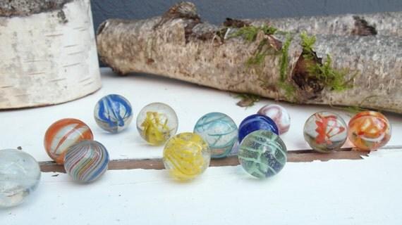 12 vintage hand made German swirl marbles