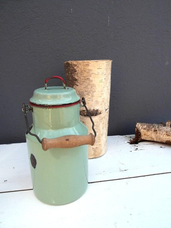 Vintage enamelware milk can