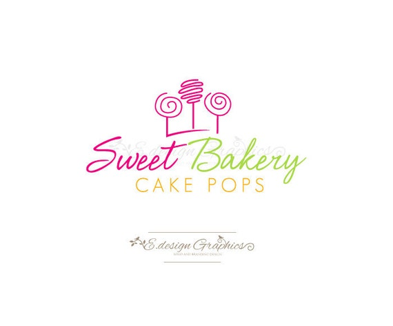 Premade Cake Pops / Lollipops Logo Design OOAK Customize