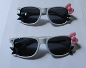 White Hello Kitty Sunglasses With Pink Bow and Black Whiskers