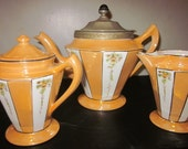 Antique Fraunfelter 1920's-1930's ART DECO Orange Luster 4PC Tea Set Royal Rochester