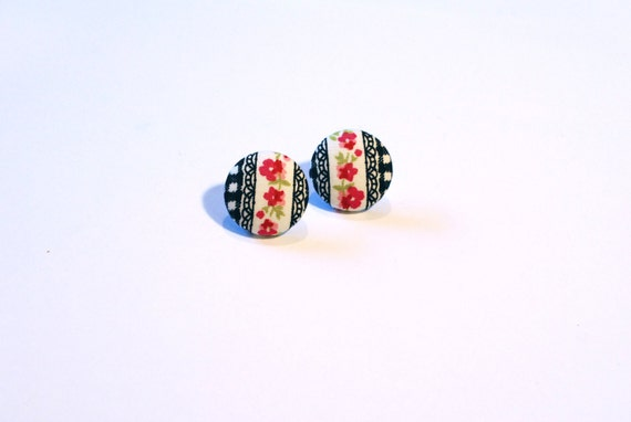 Checkered Fabric covered button earings