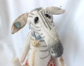 CUDDLY Plush Baby Zebra - ZIPPY - Vintage style artist teddy bear - aged soft toy