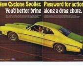 1970 Mercury Cyclone Spoiler Super CJ 429 V-8  -  Rare 2-Page Muscle Car Ad