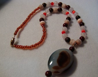 Brown Pendant and Beaded Necklace