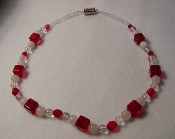 Red Square and White beaded Necklace