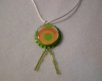 Lime green Bottle Cap Necklace