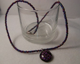 Purple beaded Dichroic glass Necklace