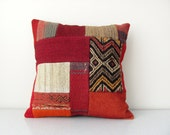 Vintage, Hand-woven, Turkish, Patchwork Kilim Pillow Cover - 16x16 inch