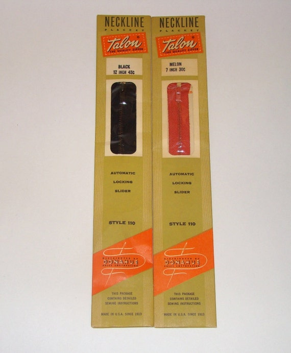 Vintage Talon 1955 Zippers Black & Melon