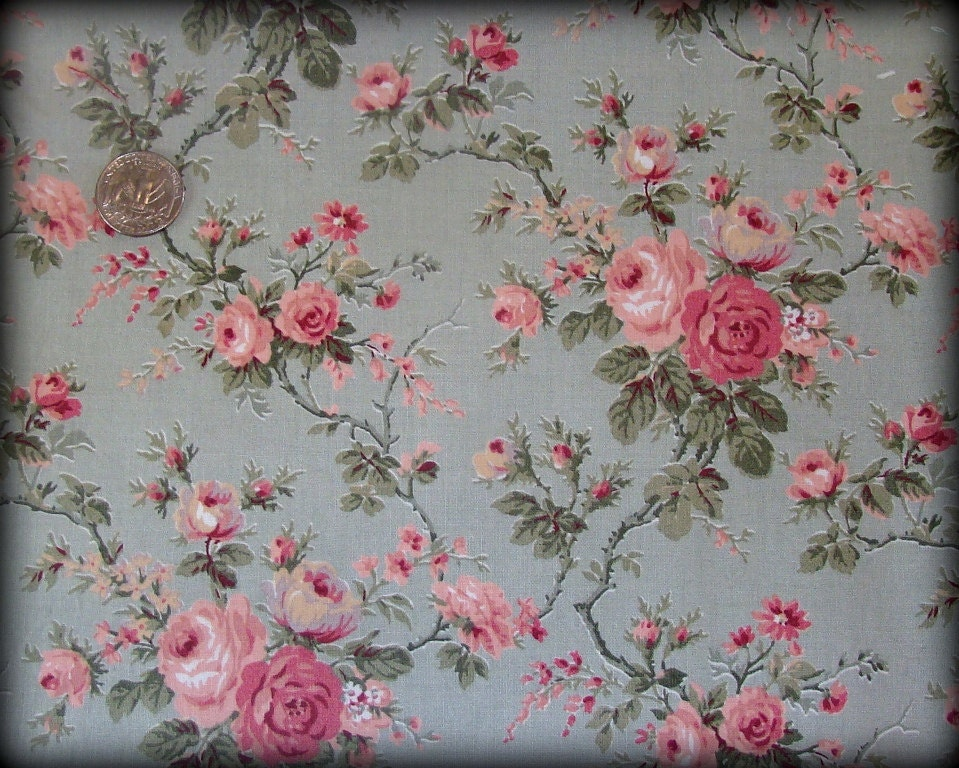 victorian pink rose floral olive green fat quarter fabric