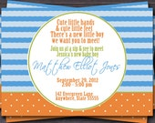 Sip and See, Baby Shower, Baby Sprinkle Invitation -- Custom -- You Print -- wavy lines and polka dots