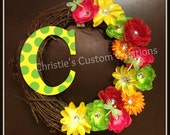 """18"""" Personalized Monogram Initial Wreath - Spring / Summer wreath Rhinestone Flowers - ANY COLOR"""