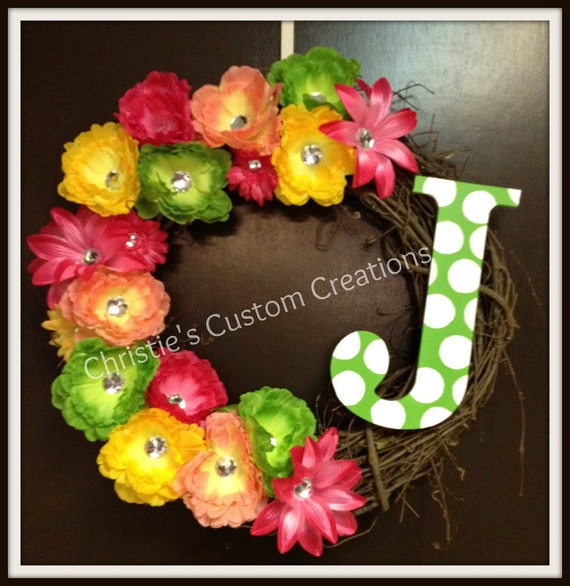 "18"" Personalized Monogram Initial Wreath - Spring / Summer wreath Rhinestone Flowers - ANY COLOR"