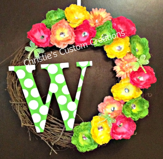 "18 "" Personalized Monogram Initial Wreath with rhinestone flowers and any color polka dot initial. Great Summer Wreath"