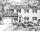 Custom Home Portrait by Joseph A. Galantino, 3 x 5 Graphite Pencil Fine Art Drawing from your photo -  Housewarming gift