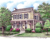 Custom Home Portrait-99 & up 5x7 Full Color Original Your My Home Sketch Drawing Christmas Birthday First Home Anniv Wedd Closing Gifts