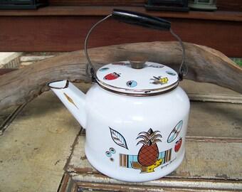 Georges Briard 50s Mod, Mid Century Enamelware Kettle Tea/Coffee