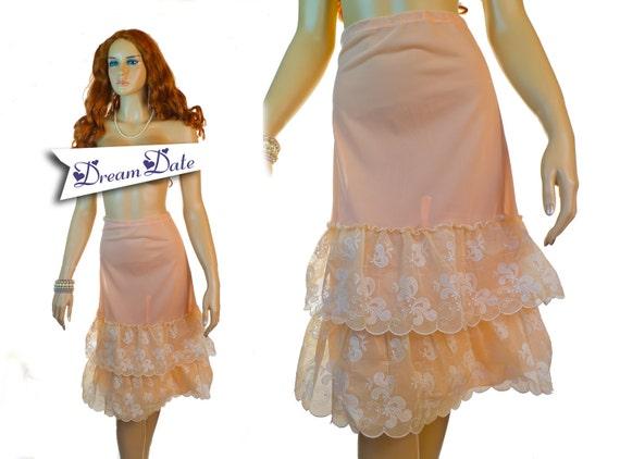 Adorable 1960s vintage petticoat pettycoat peach apricot 60s crinoline Ostalgie PX18