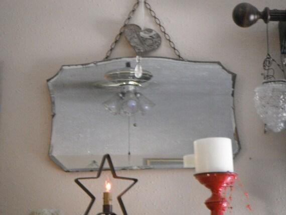 Vintage Art Deco Frameless Beveled Mirror