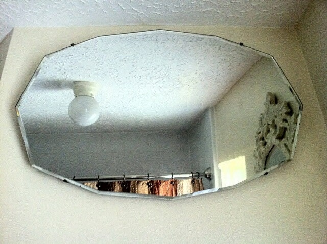 Antique Frameless Beveled Mirror