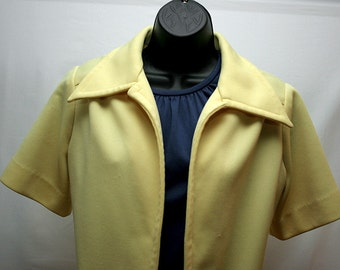 Vintage Women's Short Sleeved Yellow Buttonless