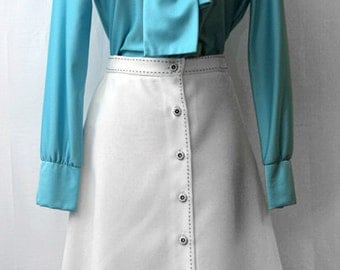 Vintage Women's Skirt White A Line with Buttons/ Retro White Skirt