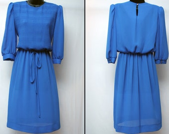 Vintage Women's Blue Dress / Vintage Secretary Dress / Size 8 Petite