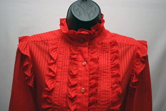Women's Red Blouse with Ruffles Vintage Cotton Top Retro Western Shirt