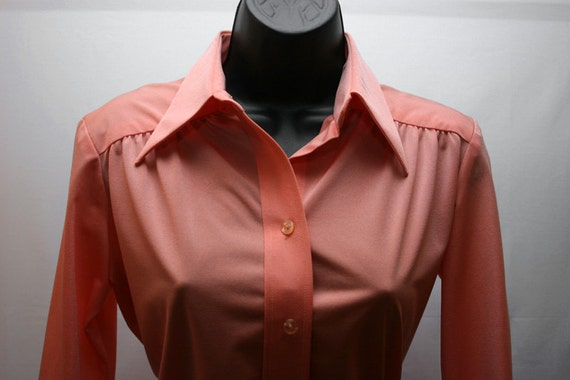 Vintage Coral Shirt Women's Button Up Long Sleeve Retro Blouse Size 8
