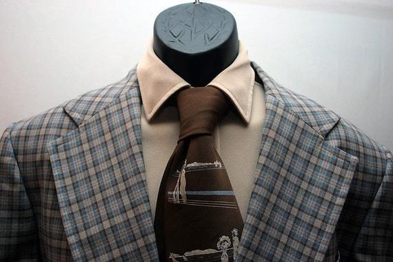 Men's Vintage Jacket Plaid Brown and Blue Size 44