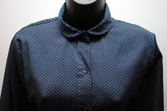 Vintage Women's Polka Dot Blouse Navy Blue and White Levis Shirt