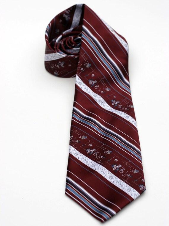 Vintage Maroon and White Striped Floral Men's Necktie