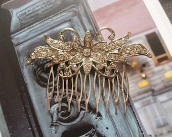 Queen rhinestone crystals leaf wedding bridal bridesmaids flower girls hair comb, vintage victorian, rhinestones hair comb, bridal accessory