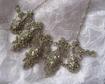 Vintage Victorian rhinestones crystals wedding bridal bridesmsids necklace