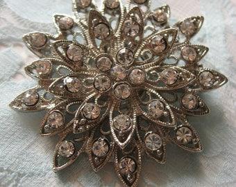 Firework round wedding bridal rhinestone crystals brooch pin