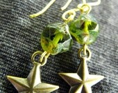 Vintage style earrings with handmade czech glass beads and brass charms: Vintage Summer Collection 2012