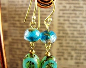 Vintage style earrings with handmade czech glass beads: Vintage Summer  Collection 2012