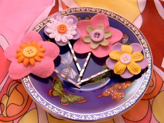 Felt  & Button Flower Bobby Pins