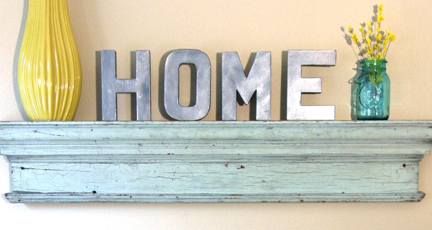 Faux Steel Metal Letters Home Decor 8 inches by FleaMarketSunday