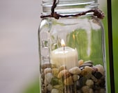 Six Hanging Mason Jars with Candle Decoration (set of six)