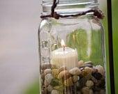 Six Hanging Mason Jars with Candle Decoration (set of six)