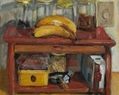 Still Life Oil Painting, Bread Box. Original Oil Painting on Canvas, Fine Art Still Life